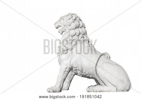 Sculpture of a lion (made in 1832) of the Lion Bridge in St. Petersburg Isolated on white background