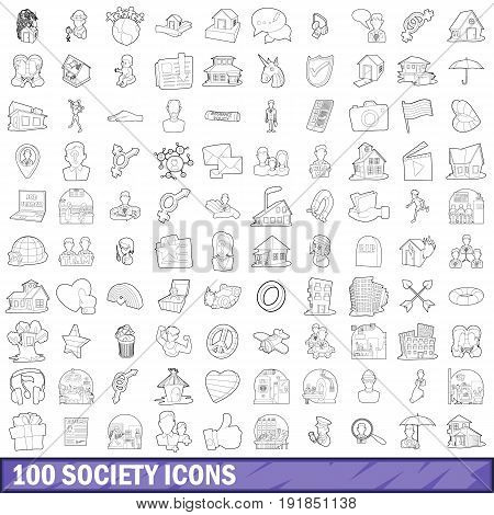 100 society icons set in outline style for any design vector illustration