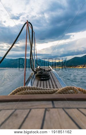 The Mooring Rope Is Prepared On The Ladder. Yacht, Montenegro, Tivat.