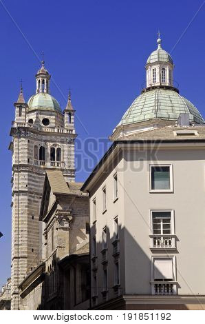 View of the Cathedral of San Lorenzo Genoa Italy