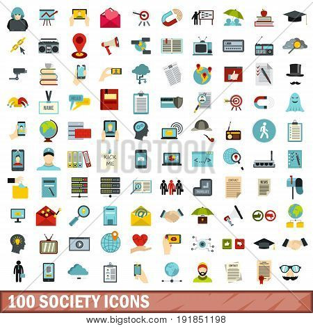 100 society icons set in flat style for any design vector illustration