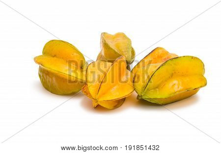 Carambola exotic fruit on a white background