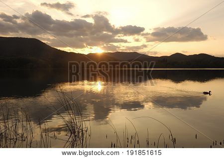 Sunset at Banyoles lake Girona province Catalonia Spain
