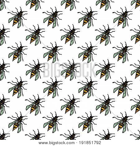 Seamless wasp pattern for your summer design. Vector illustration