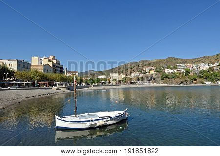 Village And Beach Of Portbou, Girona Province, Catalonia, Spain