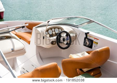 Niani Florida-February 19 2016 :yacht boat view from inside luxury travel concept