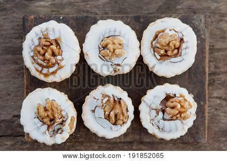 Top view of shortbread cake with walnut