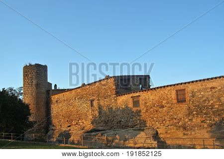 Tower And Walls Of A Medieval Village Of Peratallada, Baix Emporda, Girona Province, Catalonia, Spai