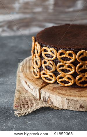 Сhocolate Cake With Ale Decorated With Salted Pretzel