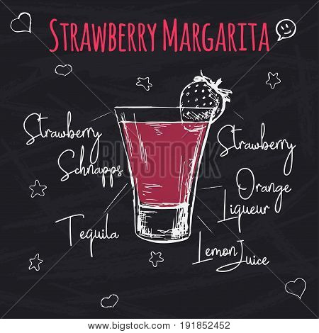 Simple recipe for an alcoholic cocktail Strawberry Margarita. Drawing chalk on a blackboard. Vector illustration of a sketch style.