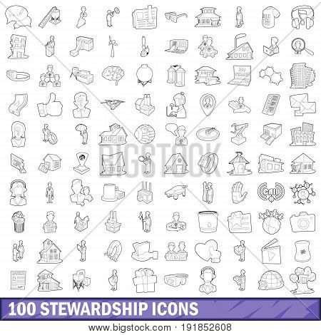 100 stewardship icons set in outline style for any design vector illustration