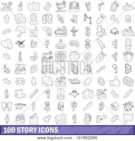 100 story icons set in outline style for any design vector illustration