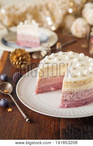 Vanilla And Blueberry Ombre Cake