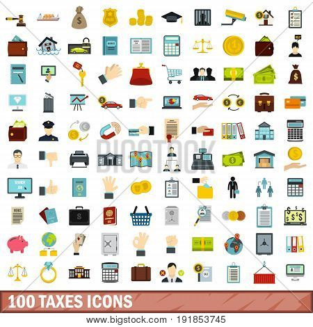 100 taxes icons set in flat style for any design vector illustration