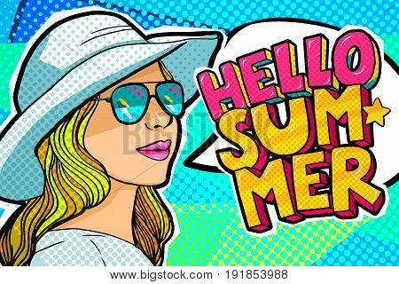 Hello Summer Message and beautiful young woman in a hat in retro pop art style. Vector illustration.