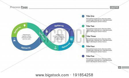 Five steps infinity sign process chart slide template. Business data. Graph, diagram, design. Concept for infographic, presentation. Can be used for topics like management, strategy, teamwork.