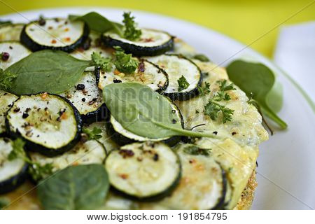 Courgette and baby spinach frittata spring meal