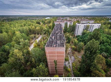 Buildings in abandoned Pripyat city in Chernobyl Exclusion Zone Ukraine