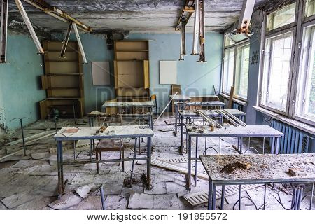 Abandoned middle school in Pripyat city in Chernobyl Exclusion Zone Ukraine