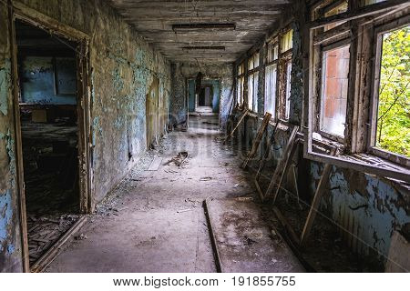 Interior of abandoned school in Pripyat city in Chernobyl Exclusion Zone Ukraine