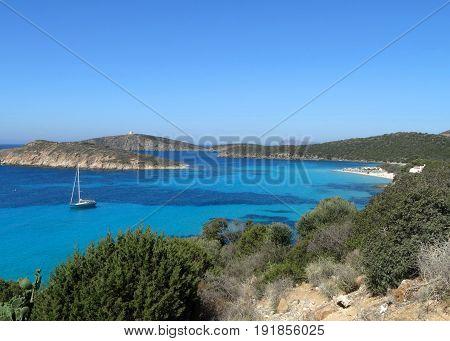 Beautiful Crystal Clear Sea Water And Beach In Sardinia Island