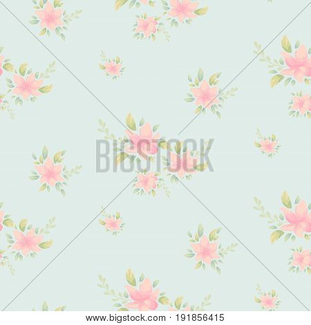 Delicate flower print. Vector floral seamless pattern