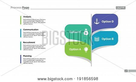Four leaves process chart. Business data. Option, diagram, design. Creative concept for infographic, templates, presentation, report. Can be used for topics like planning, management, teamwork.