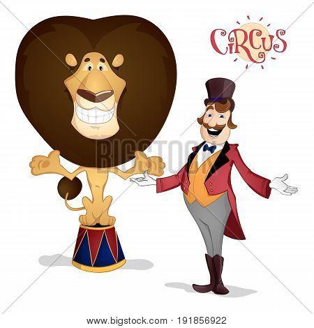 Circus Tamer And Lion Posing