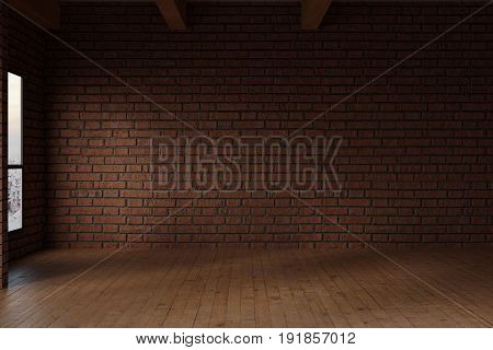 3d rendering of empty studio room with red bricks wall