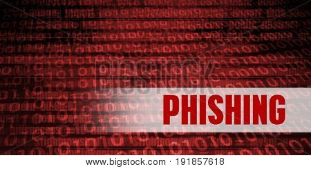 Phishing Security Warning on Red Binary Technology Background