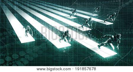 Team Running Together in a Business Race Concept 3D Illustration Render