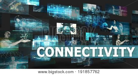 Connectivity Presentation Background with Technology Abstract Art 3D Illustration Render