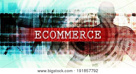 Ecommerce Sector with Industrial Tech Concept Art 3D Illustration Render