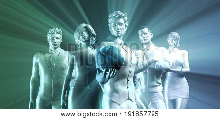 Connectivity Concept with Man Holding Globe Art 3D Illustration Render