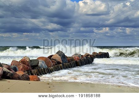 Beautiful storm Baltic sea in Sunny summer's day