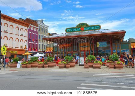 CINCINNATI, OHIO - JUNE 18, 2017:  Findlay is a trendy farmer's marketplace in the historic Over the Rhine district in Cincinnati, Ohio.  It attracts hundreds of visitors daily.