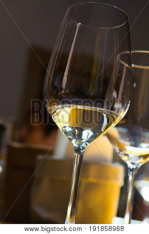 White wine tasting, wine glass in dark room with sunlights