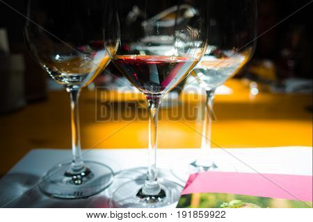 White and red wine tasting, wine glasses in dark room witn sunlights