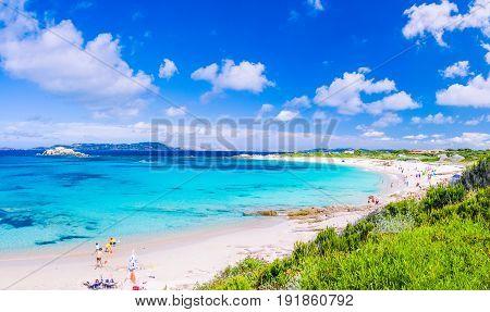Azure sea at Porto Pollo beach on beautiful Sardinia island near Porto Pollo, Sargedna, Italy.