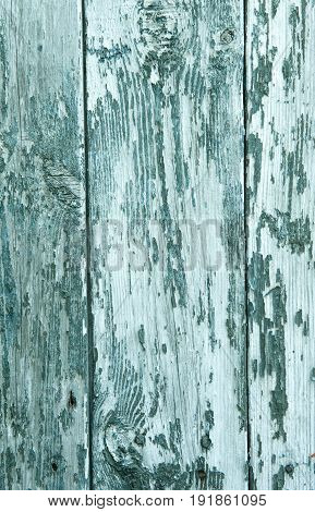 abstract wooden background with cracks on the blue paint plaster the vertical frame.