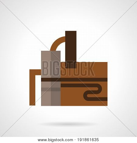 Abstract symbol of distillery industry building. Industrial plants, factories and other facilities. Flat color style vector icon.