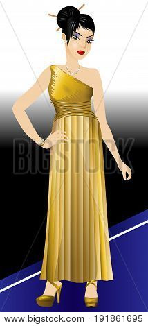 Asian Woman Gold Gown