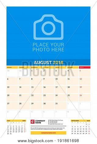 Vector Monthly Calendar Planner Template For 2018 Year. August. Vector Design Print Template With Pl