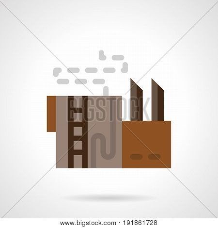Symbol of plant building with chimney and pipes. Industrial architecture facilities. Flat color style vector icon.