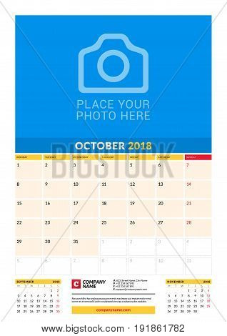 Vector Monthly Calendar Planner Template For 2018 Year. October. Vector Design Print Template With P
