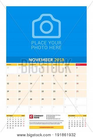 Vector Monthly Calendar Planner Template For 2018 Year. November. Vector Design Print Template With