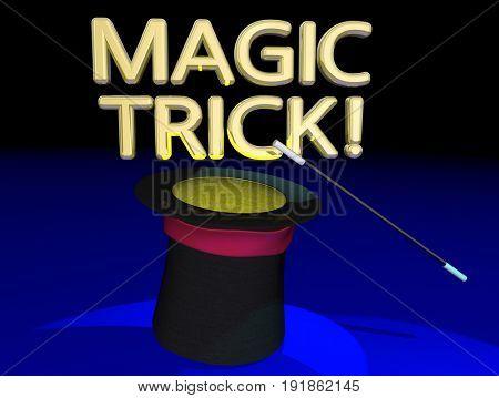Magic Trick Hat Wand Magician Big Show Act 3d Illustration
