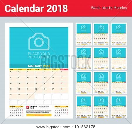 Vector monthly calendar planner template for 2018 year. Vector design print template with place for photo. Week starts on Monday. 3 months on page. Stationery Design
