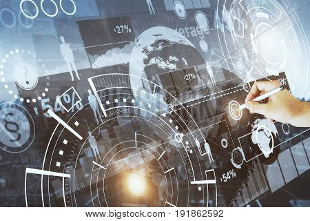 Hand drawing digital business sketch on city background. Human resources concept. 3D Rendering