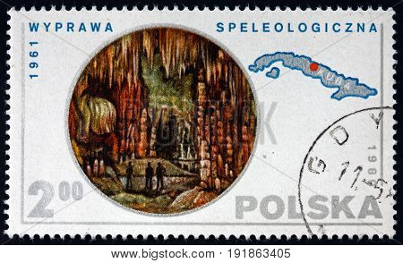 POLAND - CIRCA 1980: a stamp printed in the Poland shows Caverns (1961 Expedition) Map of Cuba circa 1980